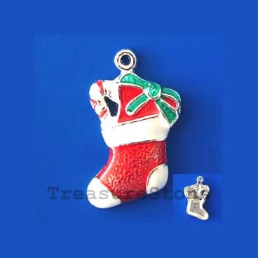 Charm/pendant, 15x21mm Christmas stocking. Pkg of 2.