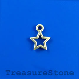 Charm, silver-finished, 10mm open star. Pkg of 22.