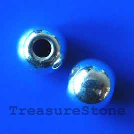 Bead, silver-finished, large hole, 10mm round. Pkg of 6.