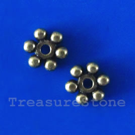 Bead, antiqued brass finished, 7x1.5mm. Pkg of 20.