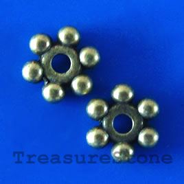 Bead, antiqued brass finished, 8mm. Pkg of 22.