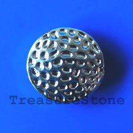 Bead, silver-finished, 17x8mm puffed round. Pkg of 4.