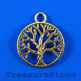 Pendant, gold-colored, 30mm tree of life. Pkg of 2.
