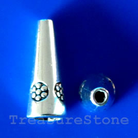 Cone, antiqued silver-finished, 8x21mm. Pkg of 6.