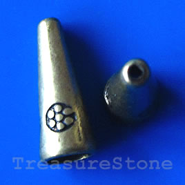 Cone, antiqued brass finished, 8x20mm. Pkg of 6.
