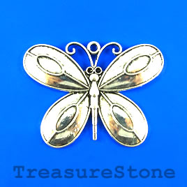 Pendant, silver-finished, 68x50mm butterfly. Sold individually.
