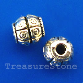 Bead, antiqued silver-finished, 8mm. Pkg of 15.