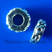 Bead, silver-finished, 11x3mm, large hole, 5mm. Pkg of 10.