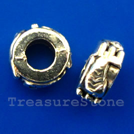 Bead, silver-finished, large hole, 10x5mm rondelle. Pkg of 10.
