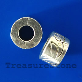 Bead, silver-finished, 10x6mm tube, large hole, 5mm. Pkg of 10.