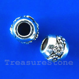 Bead, silver-finished, 10x9mm, large hole, 5mm. Pkg of 10.