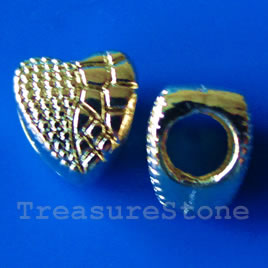 Bead, gold-finished, 9x10mm heart. Pkg of 6.