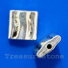 Bead, silver-finished, 8x3mm. Pkg of 12.