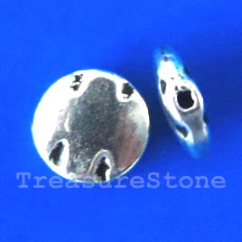 Bead, silver-finished, 10x3mm flat round. Pkg of 15.