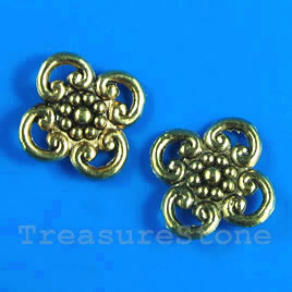 Bead, antiqued gold-finished, 15x2mm. Pkg of 15.