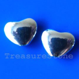 Bead, silver-finished, 9x11mm heart. Pkg of 12.