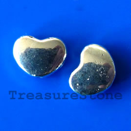 Bead, silver-finished, 6x8mm heart. Pkg of 15. - Click Image to Close