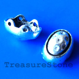 Spacer bead, silver-finished, 8x12mm. Pkg of 10.