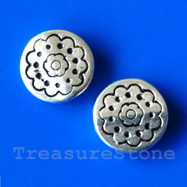 Bead, silver-finished, 12x3mm flat round. Pkg of 15.