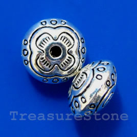 Bead, antiqued silver-finished, 10x6mm rondelle. Pkg of 10.