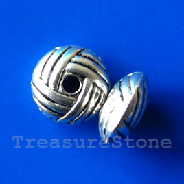 Bead, antiqued silver-finished, 10x5mm saucer. Pkg of 12.
