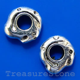 Bead, silver-finished, large hole, 12x4mm. Pkg of 6.