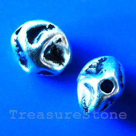 Bead, antiqued silver-finished, 10x7mm. Pkg of 10.