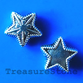 Bead, antiqued silver-finished, 10x5mm star. Pkg of 15.