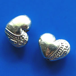 Bead, silver-finshed, 10x7x5mm heart. Pkg of 12.