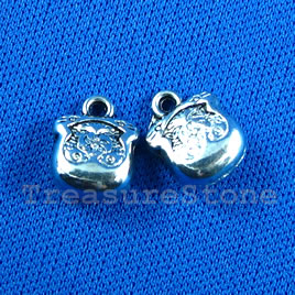 Pendant/charm, silver-finished,10mm. Pkg of 8.