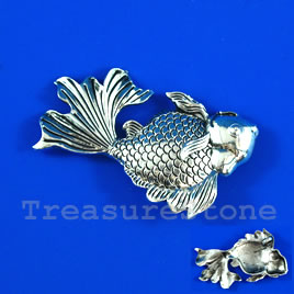 Pendant, silver-finished, 55x35mm goldfish.Sold individually.