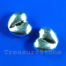 Bead, antiqued silver-finished, 10x8mm heart. Pkg of 15.