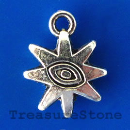 Charm/pendant, silver-plated, 12mm. Pkg of 15.