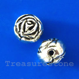 Bead, antiqued silver-finished, 9x8mm rose. Pkg of 10.