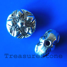 Bead, antiqued silver-finished, 10mm. Pkg of 10.