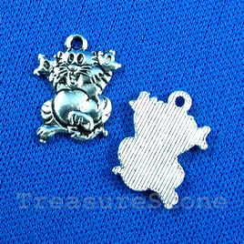 Pendant/charm, silver-finished,14x15mm tiger. Pkg of 12.