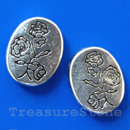 Bead, silver-finished, 10x12 flat oval. Pkg of 10.