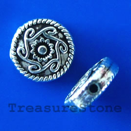 Bead, silver-finished, 9x3mm flat round. Pkg of 15.