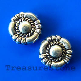 Bead, antiqued silver-finished, 10x3mm. Pkg of 15.