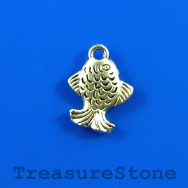 Charm, silver-finished, 12x13mm fish. Pkg of 12.
