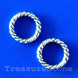 Bead, antiqued silver-finished, 8mm circle. Pkg of 30.