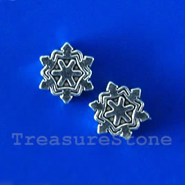 Bead,antiqued silver-finished,9x3mm snowflake. pkfg of 18.