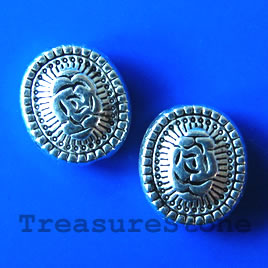 Bead, antiqued silver-finished, 10x12x4mm. Pkg of 10.