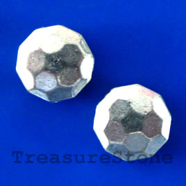 Bead, antiqued silver-finished, 12x5mm. pkg of 8.