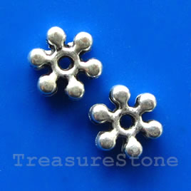 Bead, antiqued silver-finished, 8x2mm beaded rondelle. Pkg of 20