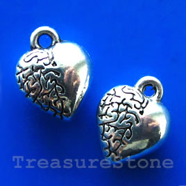 Charm/pendant, silver-plated, 10mm heart. Pkg of 14.