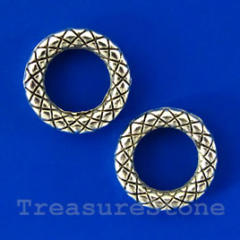 Bead, silver-finished, 14mm/8mm circle. Pkg of 15.