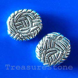 Bead, antiqued silver-finished, 13x14x3mm. Pkg of 10.