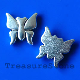 Bead, silver-finished, 14x2mm butterfly. Pkg of 10.