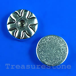Bead, silver-finished, 12x3mm flat round. Pkg of 10.